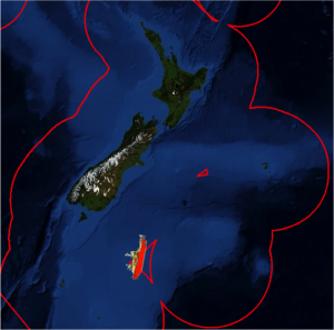The ship passing through the 'Bermuda Triangle'. In reality, it is just where the EEZs of the various territories of NZ (in this case, the Chatham Islands, the South Island and Campbell Island) do not fully intersect.