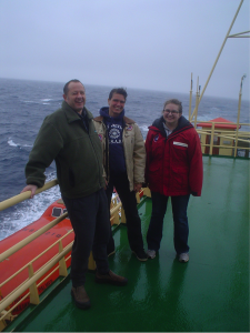 Old Dominion University's 'Team Iron' (Pete Sedwick, Bettina Sohst and Casey O'Hara) enjoying the Southern Ocean weather aboard RVIB Nathaniel B. Palmer.