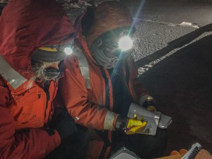 Ground control (Kelly Schick, U. Colorado and Lettie Roach, NIWA) working in some pretty chilly conditions