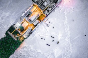 Drone's eye views of the Nathianel B. Palmer in ice station mode