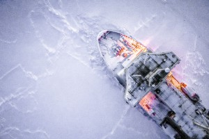 Another drone's eye views of the Nathianel B. Palmer in ice station mode